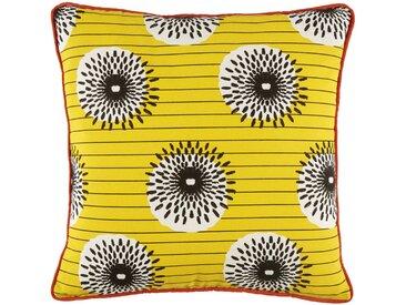 Coussin d'extérieur en coton jaune à motifs multicolores 45x45