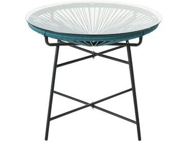 Table basse de jardin ronde en résine bleu vert et verre Copacabana
