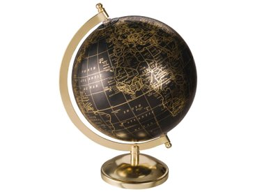 Globe terrestre carte du monde noir et doré