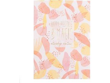 Carnet de notes et stickers motifs roses et jaunes