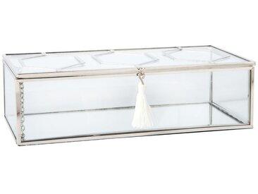 Boîte à bijoux en métal argenté et verre