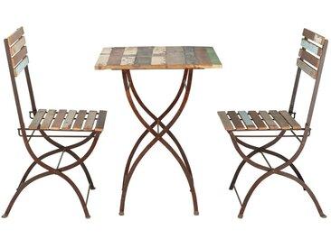 Table + 2 chaises de jardin en bois recyclé et métal effet vieilli L 60 cm Collioure