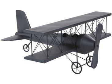 Statue avion en métal noir mat L94