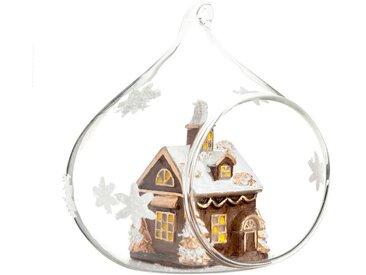 Boule de Noël en verre ouverte village de Noël motifs étoiles blanches