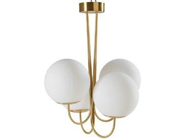 Lustre 4 globes en verre blanc et métal doré