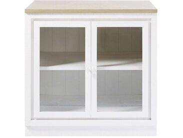 Meuble bas de cuisine 2 portes vitré blanc Embrun