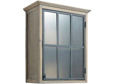 Meuble haut vitré de cuisine ouverture gauche en pin recyclé L60 Copenhague