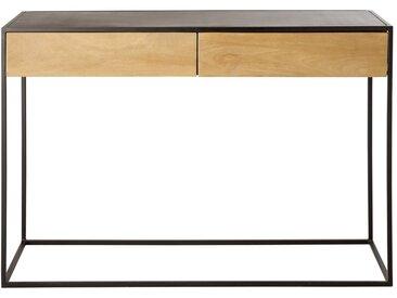 Console 2 tiroirs en métal noir et manguier massif Wayampi