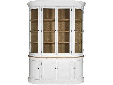Vaisselier vitré 8 portes en pin recyclé blanc patiné Flaubert