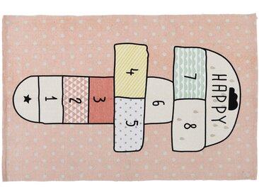 Tapis enfant marelle en coton rose 120x180