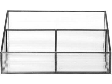 Range-courrier en métal noir et verre strié
