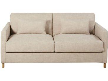 Canapé-lit 3 places beige, matelas 10 cm Julian