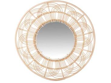 Miroir rond en rotin ajouré D60