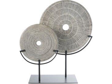 Statuette 2 cercles gris anthracite et métal noir
