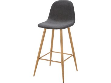Chaise de bar en tissu gris anthracite Clyde