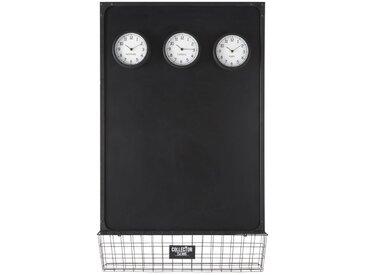 Tableau ardoise avec 3 horloges mobiles aimantées 75x121