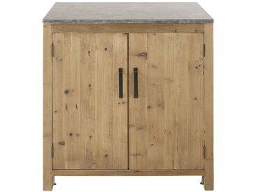 Meuble bas de cuisine 2 portes en pin recyclé effet vieilli Aubagne