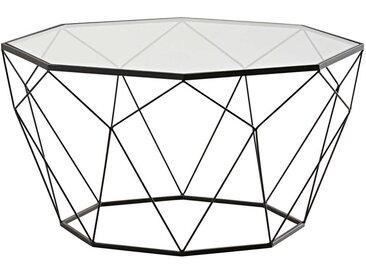 Table basse en verre trempé et métal noir Blossom