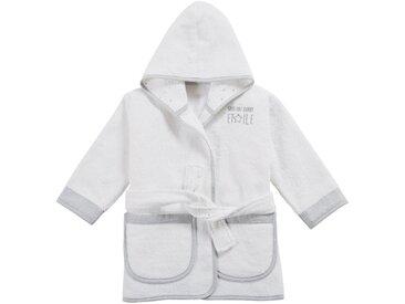 Peignoir bébé en coton blanc motifs étoiles