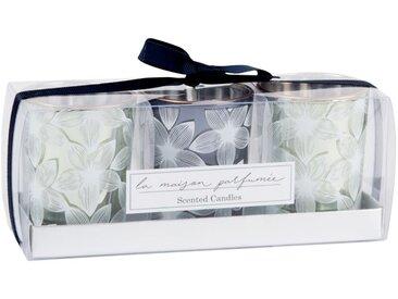 Coffret 3 bougies parfumées en verre motif floral