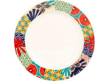 Assiette à dessert en faïence à motifs multicolores