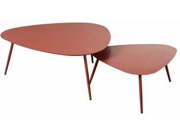 Tables gigognes de jardin en métal terracotta mat Humpa