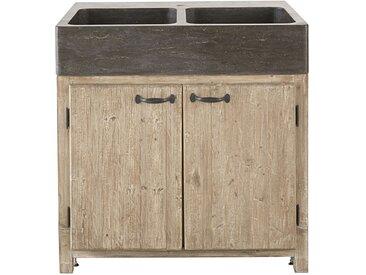 Meuble bas de cuisine pour évier 2 portes en pin recyclé grisé Greta