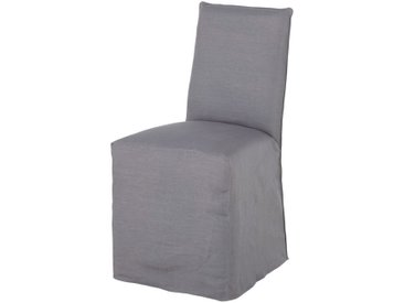 Housse de chaise en lin lavé gris