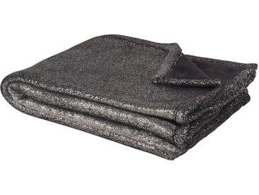 Plaid imitation fourrure noir et argenté 130x170