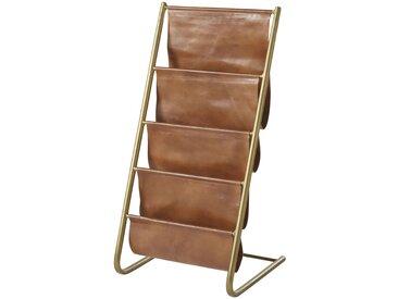 Porte-revues en métal doré vieilli et cuir de buffle marron