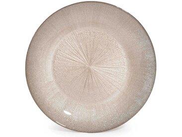 Assiette plate en verre coloris champagne D 28 cm GLITTER