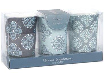 Coffret 3 mini bougies parfumées en verre motifs graphiques