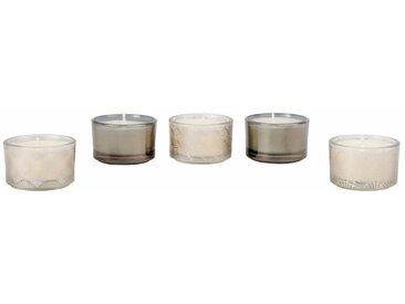 Bougies lumignons parfumées en verre motifs graphiques (x5)