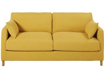 Canapé-lit 3 places jaune moutarde, matelas 10 cm Julian