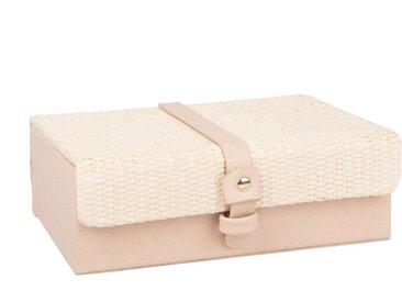 Boîte à bijoux vieux rose et tressage en fibre végétale