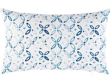Coussin d'extérieur blanc motifs graphiques bleus 30x50