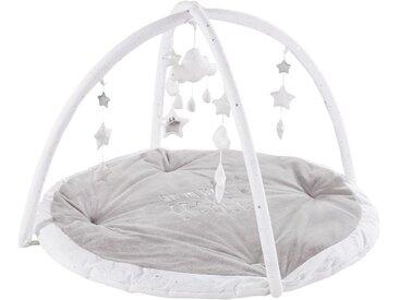 Tapis d'éveil bébé rond gris et blanc D90