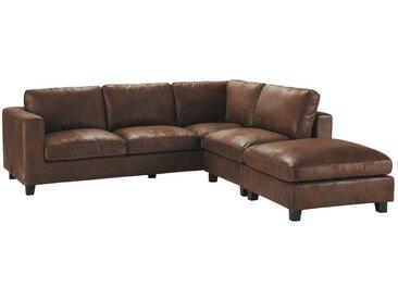 Canapé d'angle 5 places en suédine marron Kennedy
