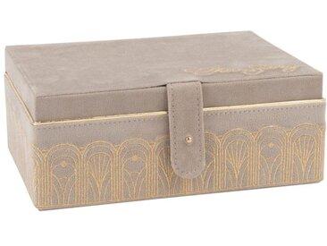 Boîte à bijoux en velours rose motifs graphiques dorés