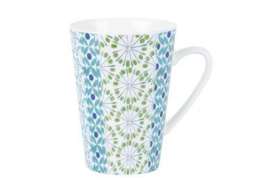 Mug en porcelaine blanche motifs graphiques bleu et vert