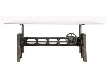 Table à manger en verre et métal 10 personnes L200 Garibaldi