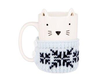 Mug chat en faïence blanche pull en laine bleu gris