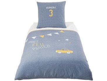 Parure de lit enfant en coton bleu 140x200