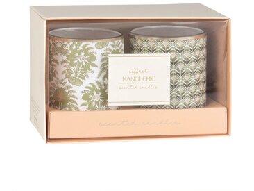 Coffret 2 bougies parfumées à motifs verts, vieux rose et dorés