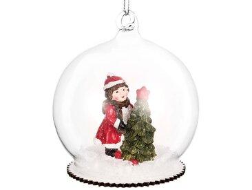 Boule figurine enneigée en verre transparent