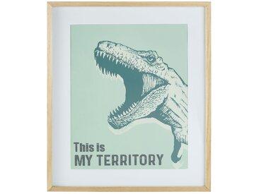Cadre imprimé T-Rex vert 55x65