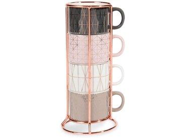 4 tasses à café expresso en faïence + support MODERN COPPER