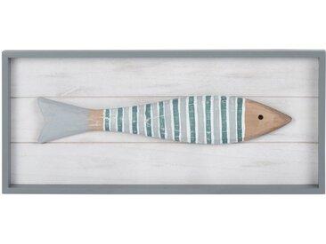 Déco murale tableau avec poisson multicolore 45x20