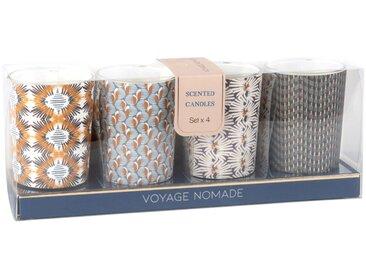 Coffret 4 mini bougies parfumées en verre à motifs