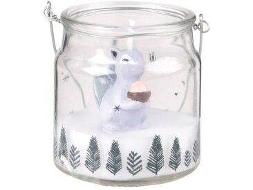 Bougie de Noël lanterne en verre imprimé écureuil